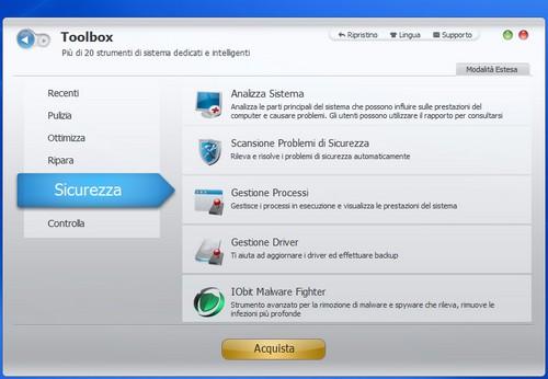 Advanced SystemCare 5: Sezione Sicurezza del Toolbox