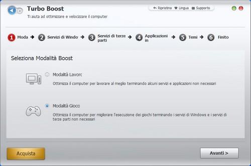 Advanced SystemCare 5: Wizard di configurazione del modulo Turbo Boost