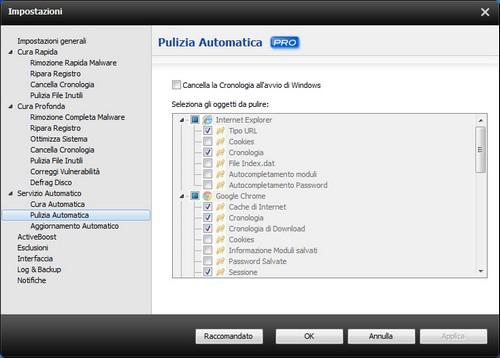 Advanced SystemCare 5: Pannello delle impostazioni