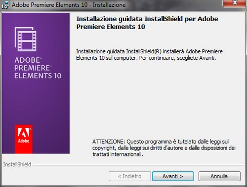 Adobe Premiere Elements 10: Installazione guidata