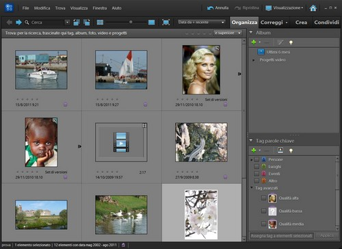 Adobe Premiere Elements 10: Finestra principale Organizer