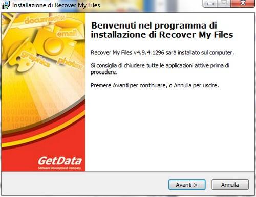 Installazione di Recover My Files