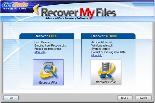 Wizard iniziale per il recupero di file e drive