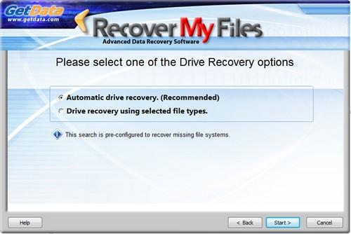 Scelta della modalità di recupero di un drive