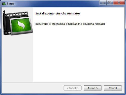 Procedura di installazione Sencha Animator