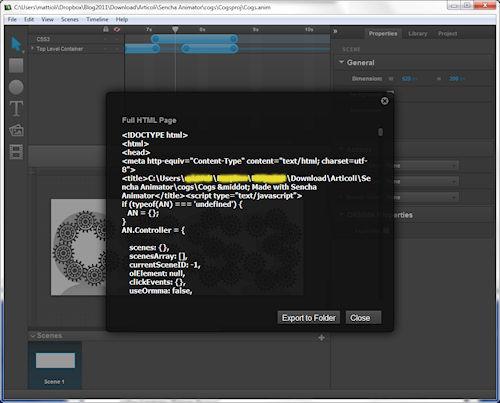 Sencha Animator: Esempio di esportazione con visualizzazione del codice HTML generato