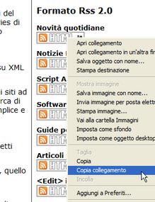 Il menu contestuale di copia del collegamento