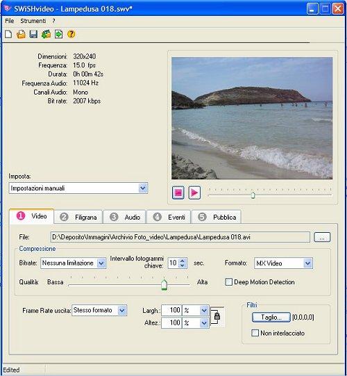 Interfaccia SWiSHvideo