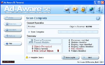 Risultato scansione Ad-Aware