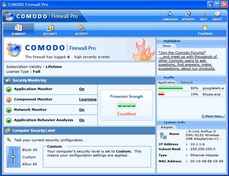 Comodo Personal Firewall in funzione