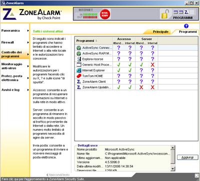 Gestione applicazioni ZoneAlarm