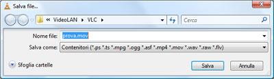 Indicare nome file ed estensione