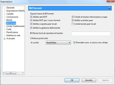 Sezione BitTorrent