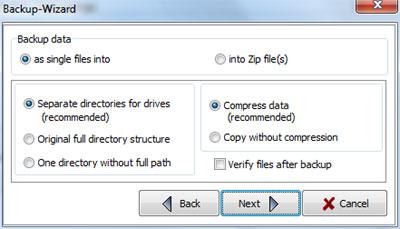 Personal Backup: Compressione e verifica file