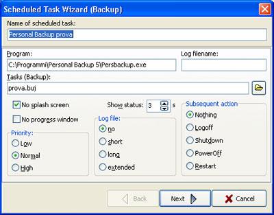 Personal Backup: Pianificazione task di salvataggio