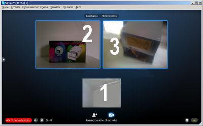 Videoconferenza fra tre contatti