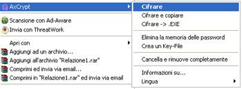 Menu integrato in Windows Explorer - AxCrypt