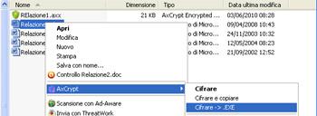 Opzione per la creazione di un file eseguibile - AxCrypt