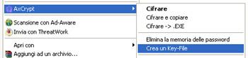 Opzione di creazione di un file chiave - AxCrypt