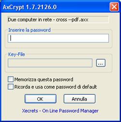 Password per decifrare un file - AxCrypt