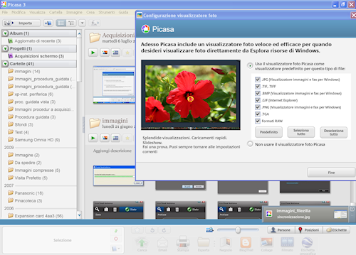 Picasa è impostabile quale visualizzatore predefinito di Windows