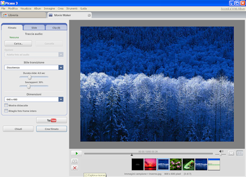 Picasa: Finestra Movie Maker per la creazione di un filmato