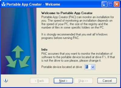 Portable App Creator: selezione lettera assegnata all'unità removibile