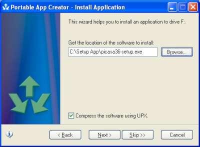 Esempio di selezione di un file setup