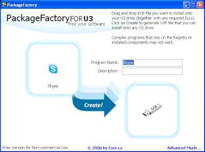 Utilità PackageFactory for U3: schermata principale