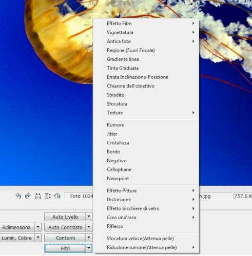 Photoscape - Menu filtri ed effetti