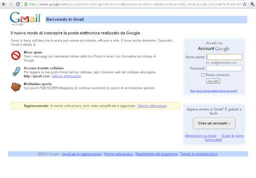 Pagina ufficiale Google Mail
