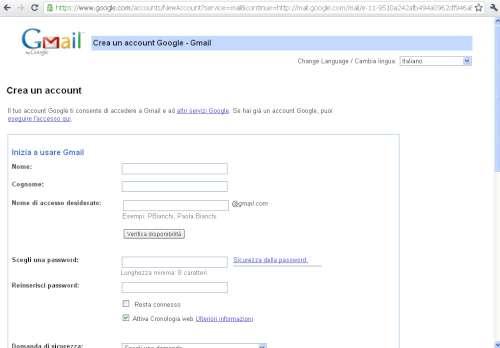 Pagina creazione account Gmail