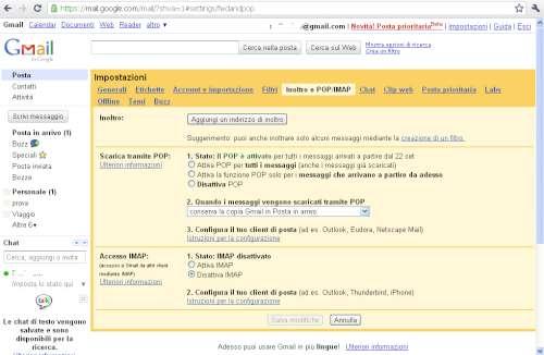 Impostazione funzione POP in Gmail