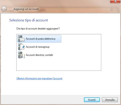 Impostazione account Gmail in Windows Live Mail