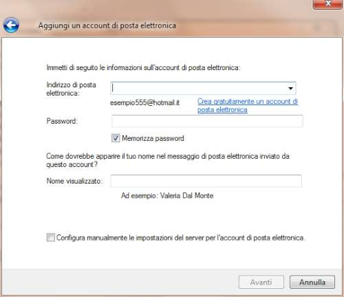 Inserimento parametri account Gmail in Windows Live Mail
