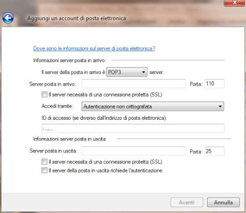 Inserimento parametri server Gmail in Windows Live Mail