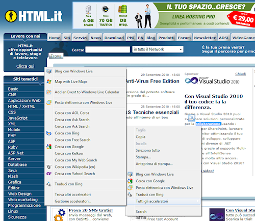 Esempio di acceleratori in Internet Explorer