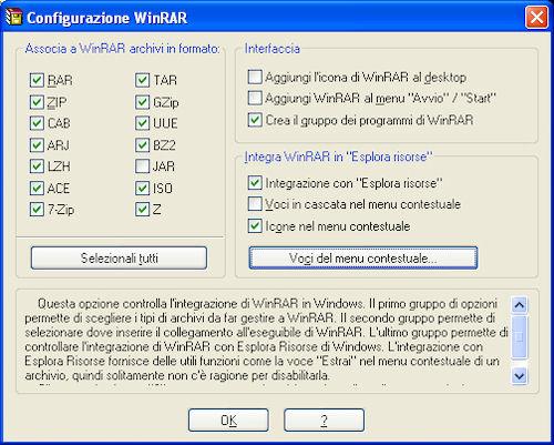 Configurazione installazione WinRAR