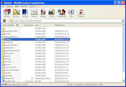 Interfaccia utente WinRAR