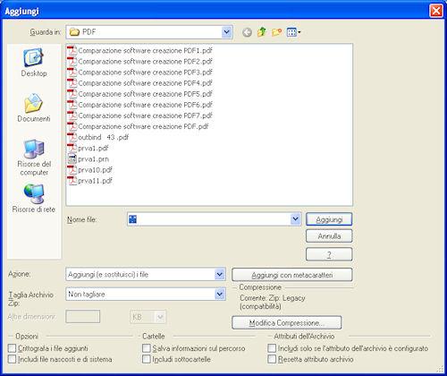 Parametri archivio di WinZip