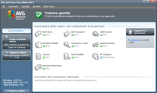 Interfaccia utente AVG Anti-Virus Free Edition 2011