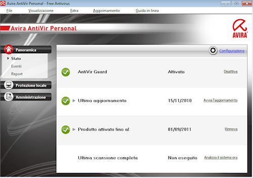 Interfaccia utente Avira AntiVir Personal - Free Antivirus 10