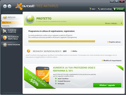 Interfaccia utente Avast! Free Antivirus 5