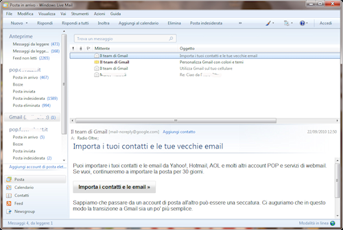 Interfaccia utente Windows Live Mail