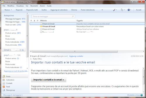 Interfaccia utente Windows Live Mail