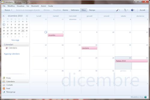 Finestra calendario in visualizzazione mese