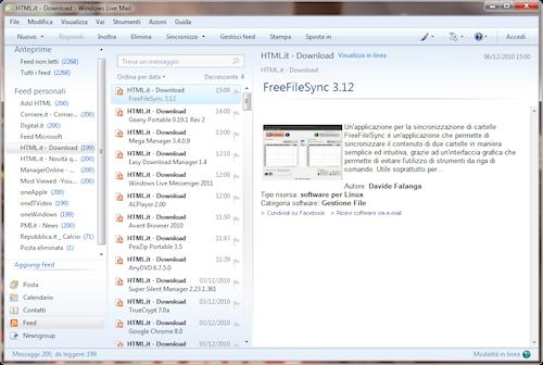Finestra gestione feed RSS
