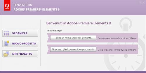Adobe Premiere Elements 9: Finestra di benvenuto