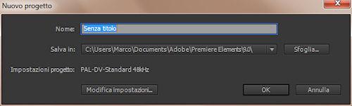 Adobe Premiere Elements 9: pannello proprietà progetto