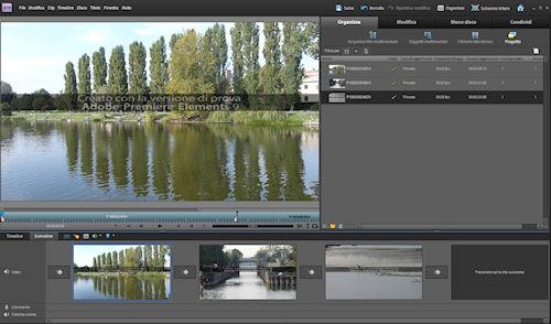 Adobe Premiere Elements 9: esempio di clip nella Sceneline